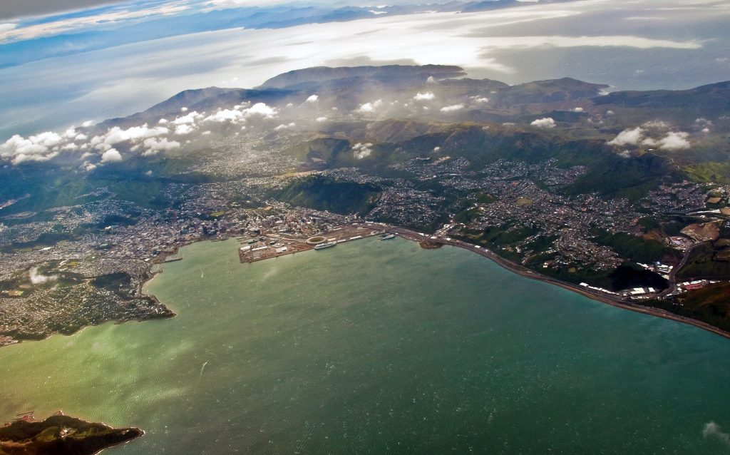 Wellington, New Zealand and it's beautiful harbor  and neighboring mountains.