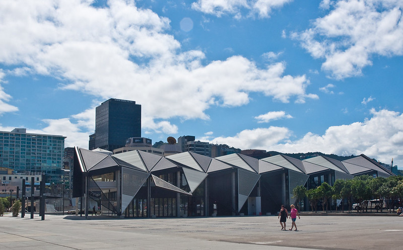 The outside of the Te Papa Museum features modern, minimalist architecture.