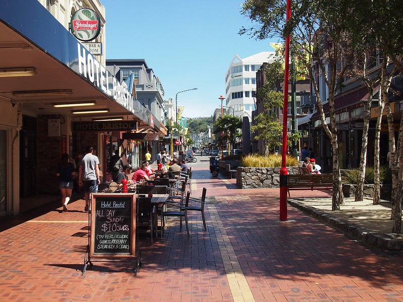 Cuba Street in Wellington features many small shops and cafes where you can sit or stroll.