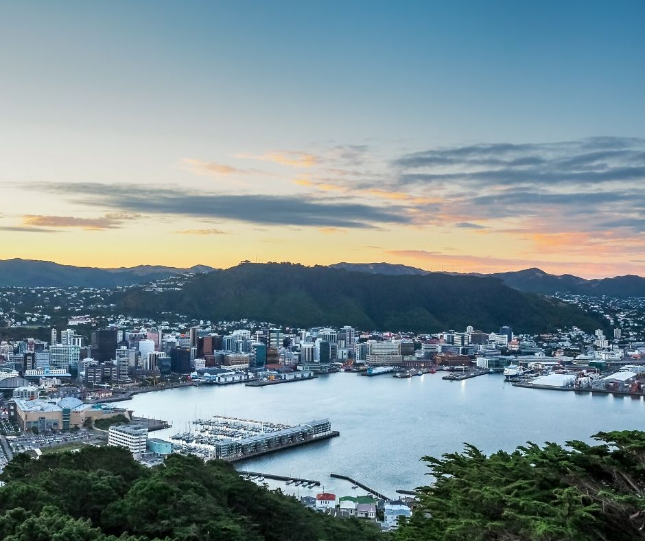 A view of Wellington Harbor, New Zealand from the Mt. Victoria lookout.