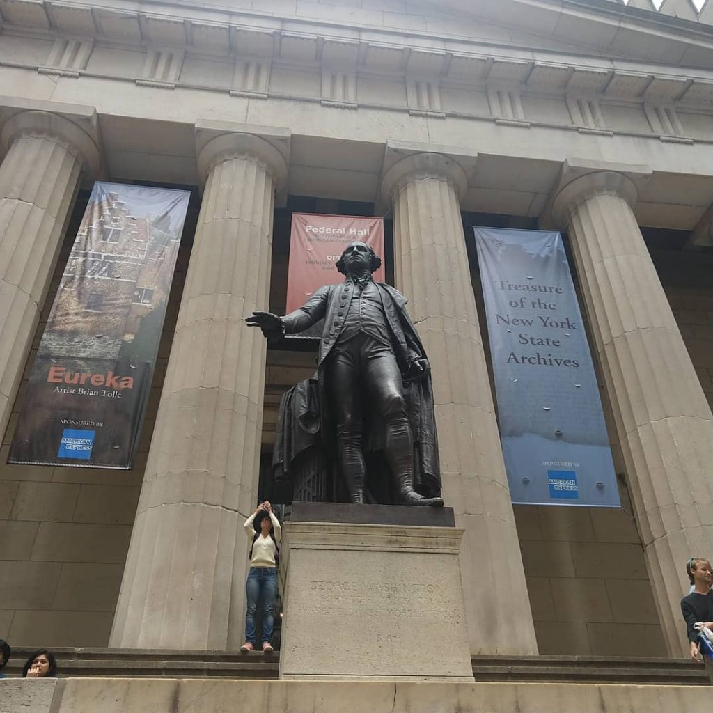 Federal Hall is an icon of Hamilton's New York City.  A statue of George Washington stands outside commemorating his inaugeration.