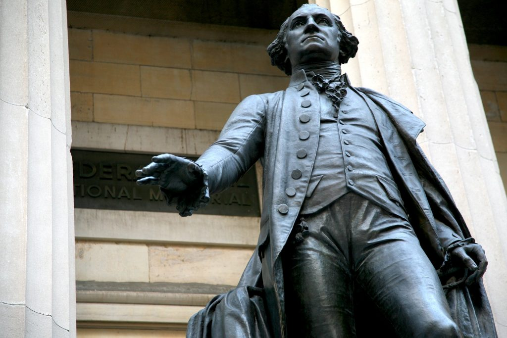 George Washington statue outside Federal Hall in Wall Street in New York City. An icon of Hamilton's New York City.
