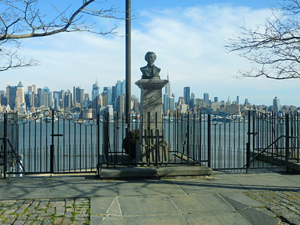 The duelling ground in Weehawken isn't in NYC, but is a great place to visit to mourn the life of this founding father.