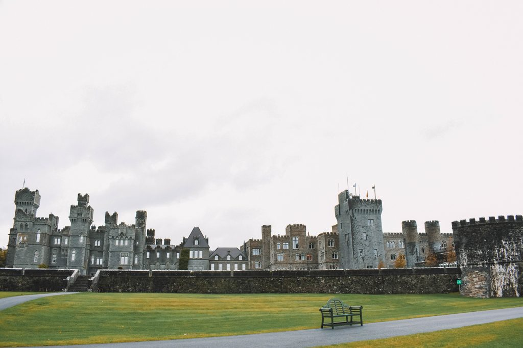 Asheford Castle on a cloudy day is still beautiful & a must-have on your Ultimate Ireland Bucket List