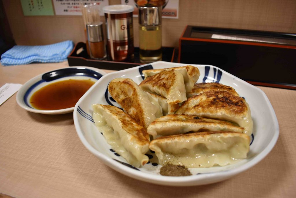 Chicken gyoza is a staple at Ramen Yoroiya.    Best places to eat in Tokyo.