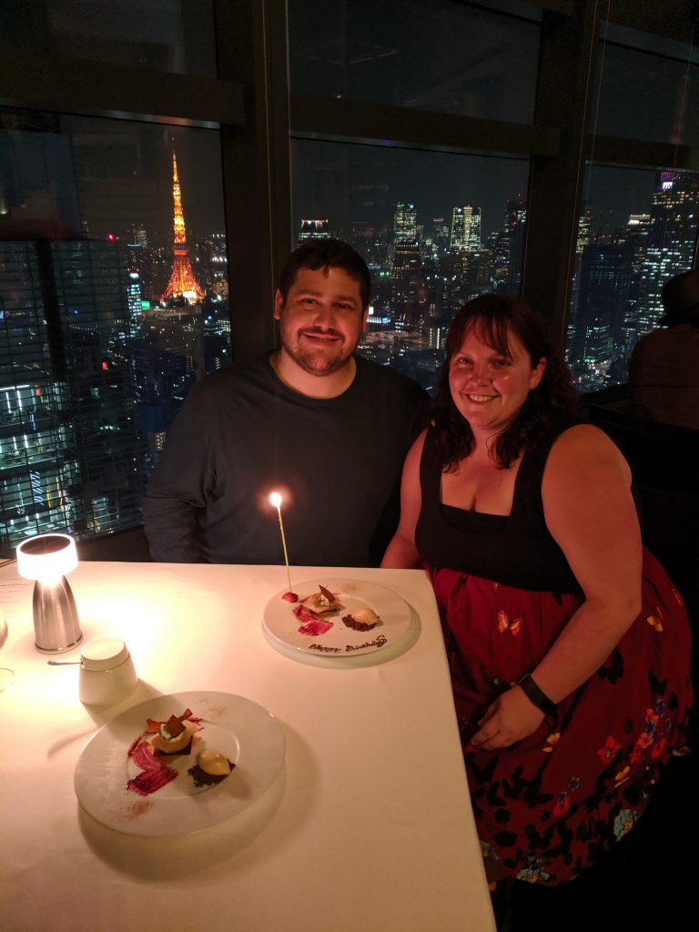 Spencer and I at Fish Bank Tokyo, overlooking the Tokyo Skytree. The view and amazing fresh seafood, make this our top place to eat in to Tokyo!