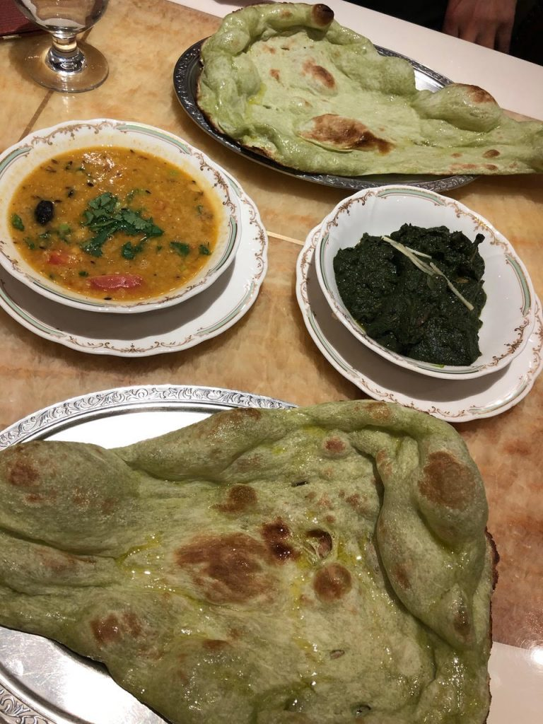 Milan Nataraj has delicious Indian food including spinach naan- making it one of the best places to eat in Tokyo