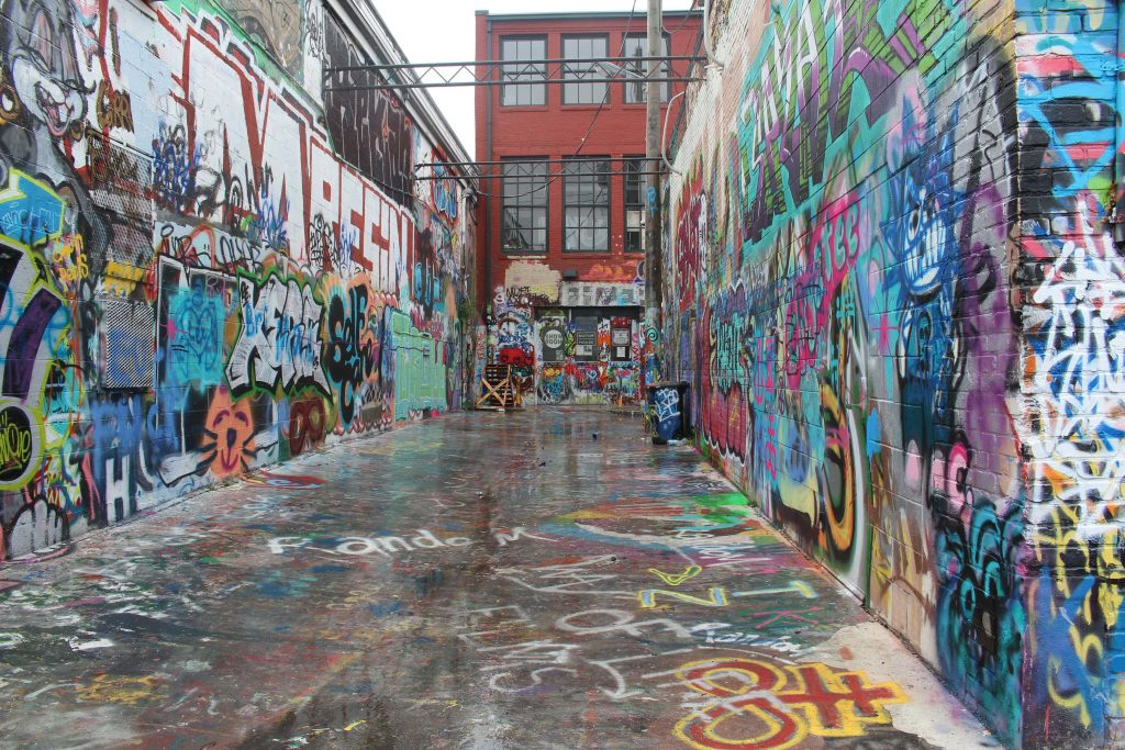 Graffiti Alley is one of the most unique places to visit during your two days in Baltimore.