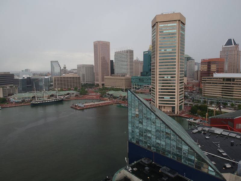 Drone shot of the Inner Harbor during our two days in Baltimore.