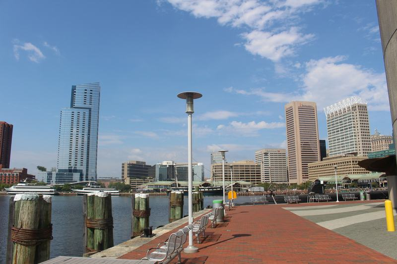Walking along the Inner Harbor you can see the skyline.  This area is a must-visit during two days in Baltimore.