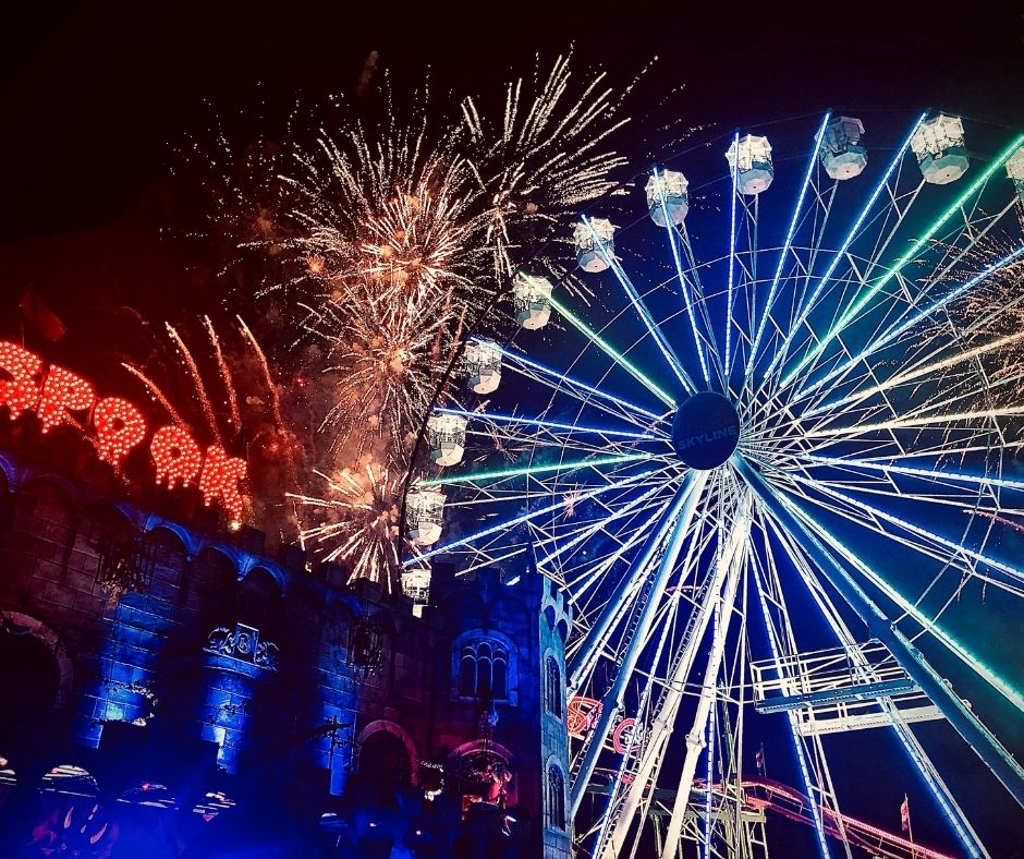 The Ferris Wheel and FIreworks in Melbourne