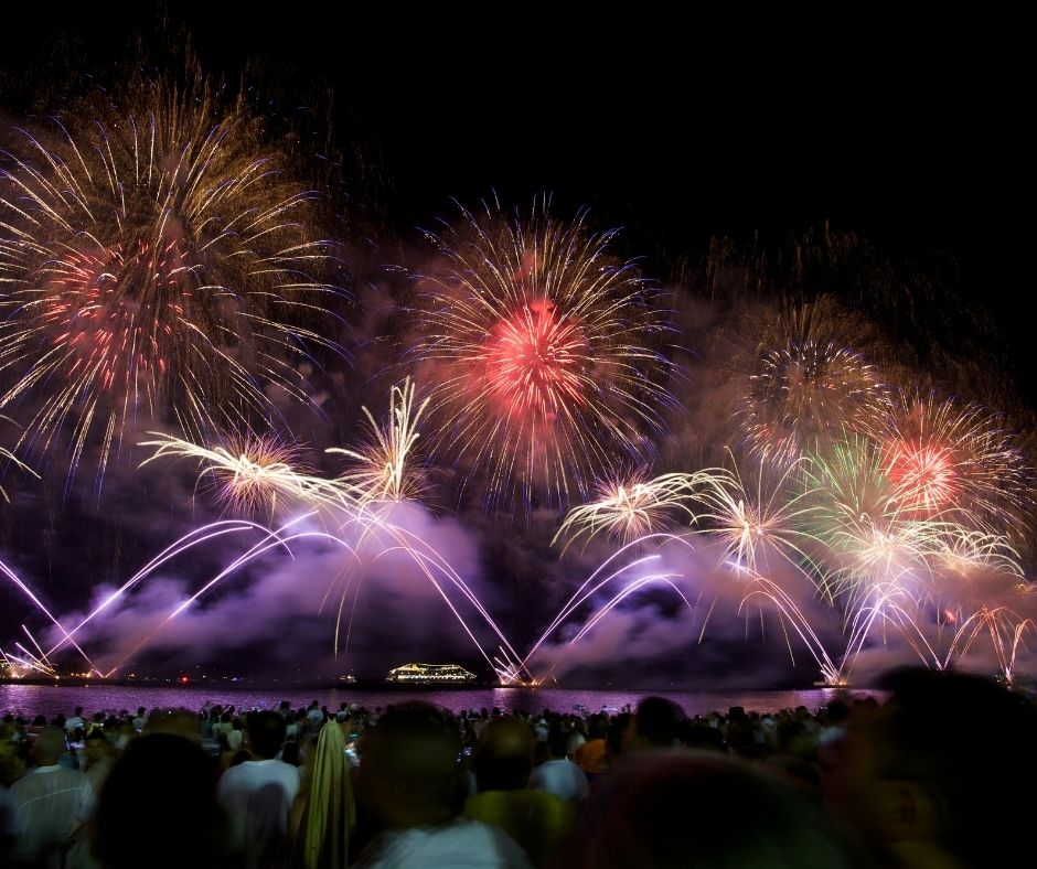 Fireworks on Copacabana Beach in Brazil. Celebrating on the beach is one of the best ways to celebrate new years around the world.