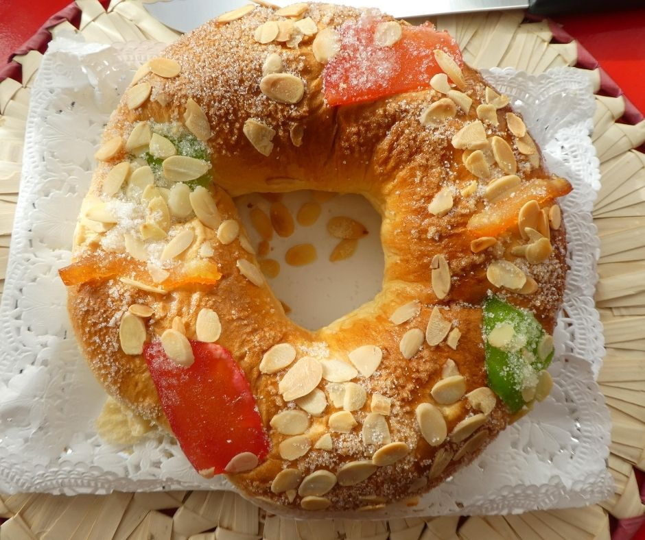A traditional Roscon de Reyes which is eaten on January 6th!