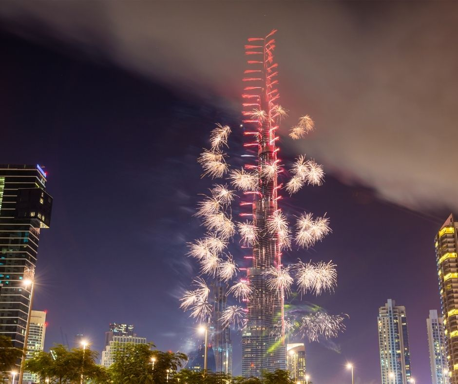 Seeing the fire works at the Burj Khalifa is one of the best ways to celebrate New Years Eve around the world.