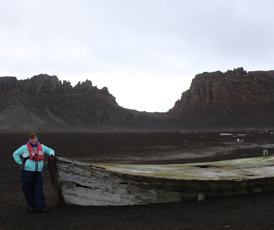 Me hiking to Neptune's Window on Deception Island. Before completing a Polar Plunge in Antarctica