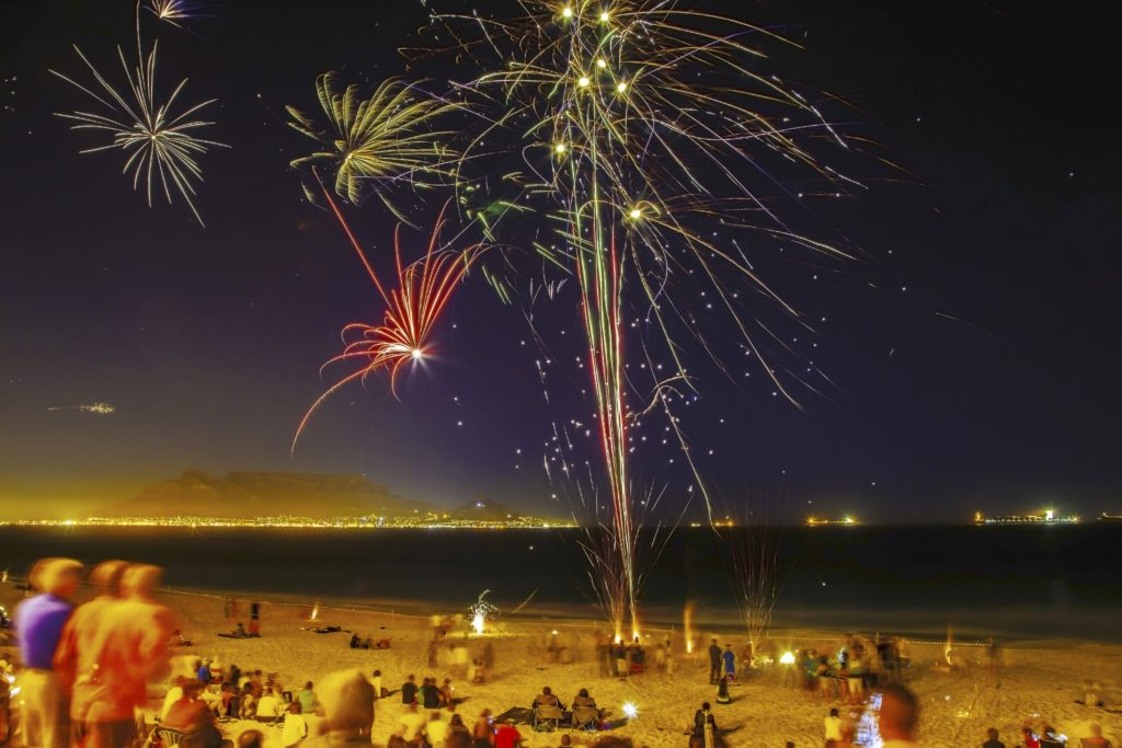 Fire works on the beach near Cape Town.  Cape Town South Africa is one of best places to celebrate new years eve in the world.