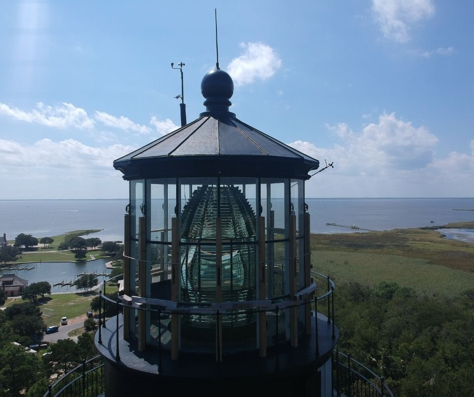 Drone shot of the top of Currituck lighthouse - is one of the best things to do in Corolla, NC