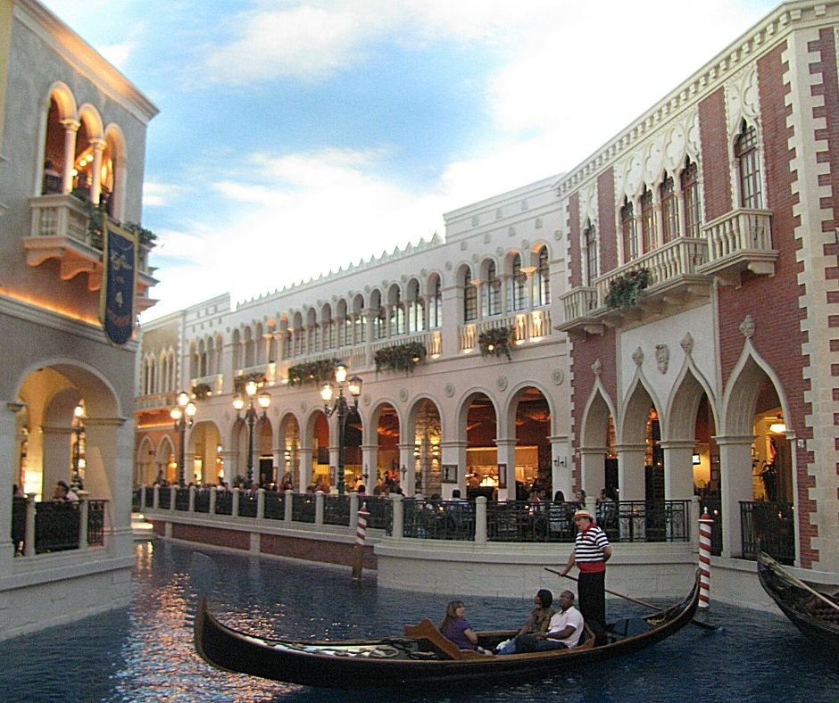 Gondola ride in the Venetian hotel. Walking through the Venetian is a great free thing to do in Vegas