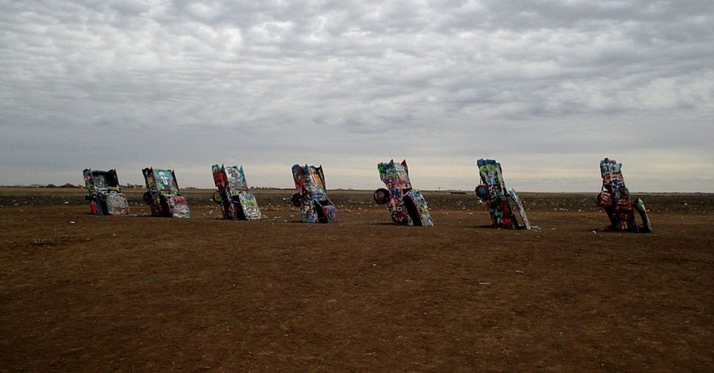 Cadillac Ranch.  One epic long road trip in North America is Route 66.