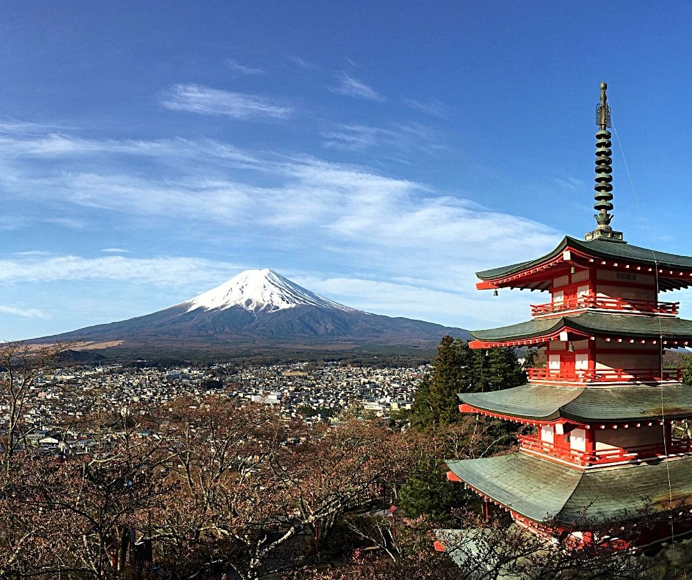The Chureito Pagoda with Mt. Fuji in the back is one of the best views of Mount Fuji.